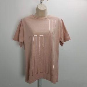 Good American Tee Shirt Flag Sz 2 Peach C6